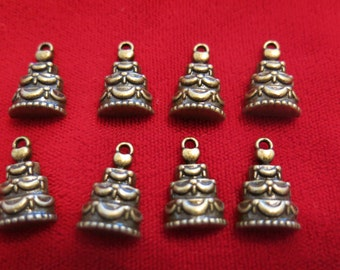 "8pc ""wedding cake"" charms in antique bronze style(BC364)"