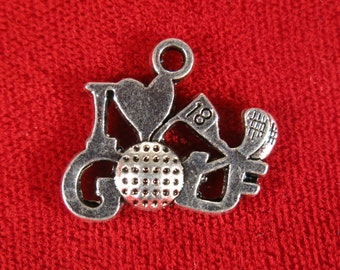 """5pc """"I love golf"""" charms in antique silver style (BC271)"""