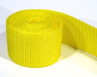 3 yards of 1.25 inch / 32mm yellow webbing, strap (WB12)