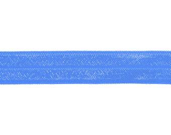 "5/8"" Capri Blue Fold Over Elastic Shiny FOE 5/8"", trim, satin"