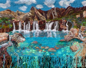 SOLD. Commission piece only. Textile, landscape waterfalls fairy pool wall hanging magic textile art