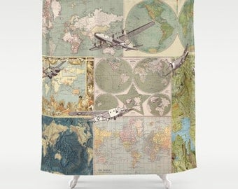 Maps and Planes Shower Curtain - Map Collage with Vintage Airplanes - travel decor Bathroom - fabric,  guy's bath, plane, wanderlust