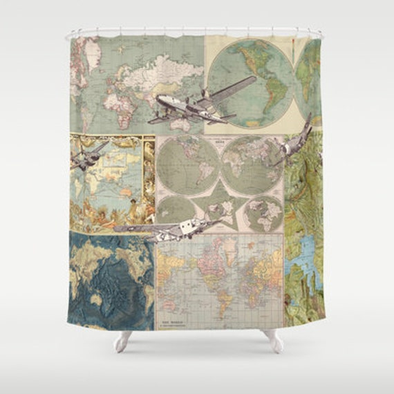 Maps and planes shower curtain map collage with vintage - Old world map shower curtain ...
