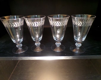 Vintage Etched Crystal Footed Juice Glasses Fostoria