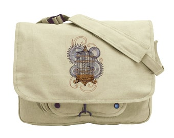 Steam Motifs - Birdcage Embroidered Canvas Messenger Bag