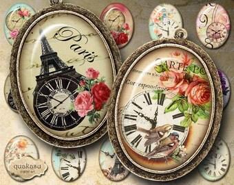 """Digital Collage Sheet : """"Vintage Clock Ovals"""" Oval 30x40 mm images, printable download for pendants bezel cabs magnets scrapbooking paper"""