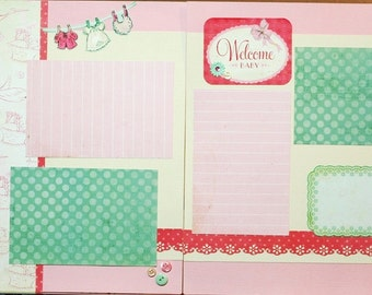 Welcome Baby Girl-scrapbook page kit, premade scrapbook kit, 12x12 premade page kit, premade scrapbook pages, 12x12 scrapbook layout