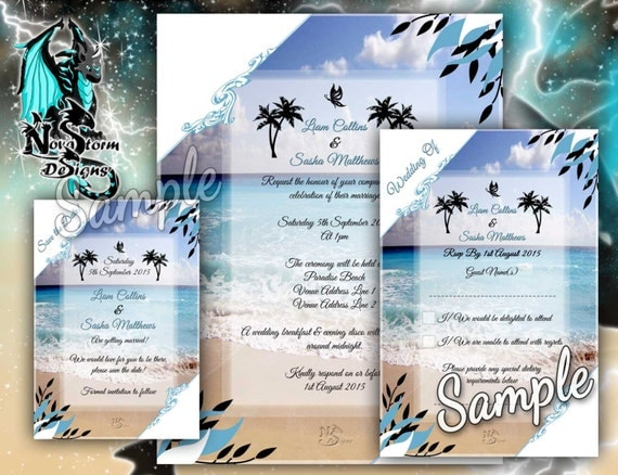 beach style wedding cards