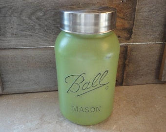 Ball Mason Jar Canister, Mason Storage, Rustic Kitchen Canister, Large Mason Jar, Distressed Cookie Jar, Green Mason Decor