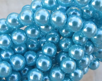 6mm Turquoise Blue Colored Glass Pearl Strand 16in. (i135)