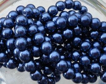 6mm Navy Colored Glass Pearl Strand 16in. (i143)