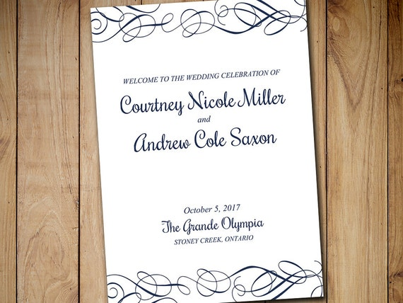fold over wedding program template download by