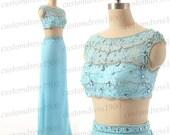 Handmade Crystal Beading Chiffon Long Prom Dress Light Blue High Neck Formal Women Evening Gowns/Bridesmaid Dress/Party Gowns