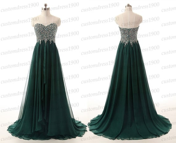 Green long evening dresssweetheart prom by customdress1900 for 34 wedding dresses that should have never existed