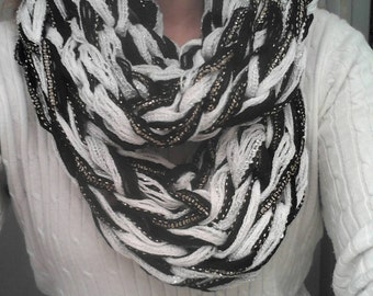 White and Black Shimmer Arm Knitted Cowl