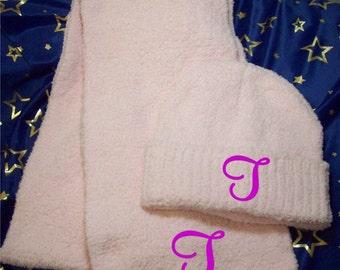 Trendy Knit Hat & Scarf Set or Hat Monogramed