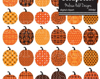 Patterned Pumpkins Clipart