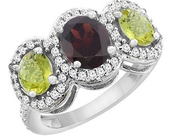 10K White Gold Natural Garnet & Lemon Quartz 3-Stone Ring Oval Diamond Accent, Sizes 4 - 10