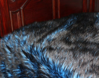 Plush Faux Fur Bedspread - Brillliant Blue with Frosted Black Tips - Soft Minky Cuddle Fur Lining