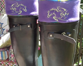 Custom Boot Liners with Purple Cuff and Embroidered Jumper Solid or Lime Purple Bottoms, Fleece Socks, Boot Cuffs, Hunter Socks, Tall Socks