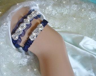 Organza Wedding Garter in Navy Blue with Toss Garter, Available in 14 other colors, Something Blue Garter, Bling Bridal Garter, Garder Set