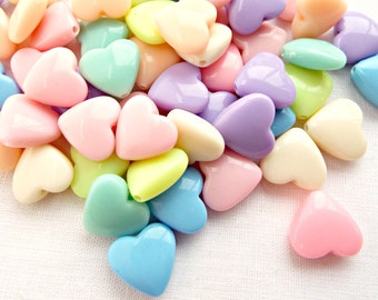 50 Pastel Heart Bead, Mixed Color Beads, Resin Pastel Beads, 13mm Multi Color Beads, Valentine Love Hearts, Jewelry Supplies, UK Seller