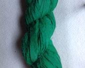 Recycled Sari silk ribbon - Rich Green