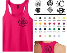 Monogrammed Gifts - Racerback Gathered A-Line Tank Top - Ladies - Personalized - Coral - Navy - Pink - Mint - Black - The Applewood Lane