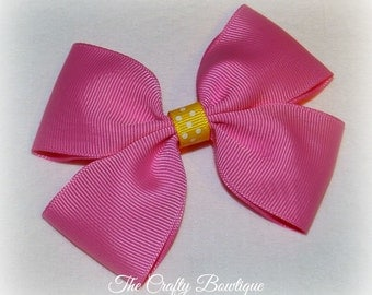 Hot Pink Hair Clip ~ Hot Pink Boutique Bow ~ Large Pink Bow ~ Hot Pink Hair Bow ~ Hot Pink & Yellow Bow ~ Baby Toddler Bow ~ Headband Bow