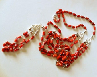 Unique Mediterranean Coral and 925 sterling Silver necklace