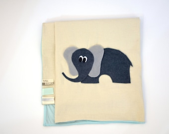 SALE 25% OFF - Elephant Baby blanket - mint and creme with felt elephant applique