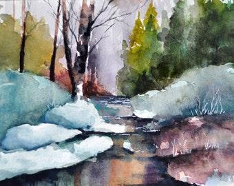 ORIGINAL Watercolor Painting, Winter Landscape, Frozen River 5x7 inch