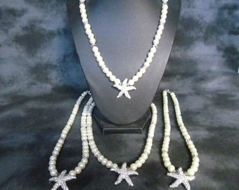 Pearl necklace,  crystal  starfish necklace,  destination jewelry, bridal jewelry  , bridesmaids jewelry  3 piece set,  handmade