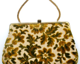 Brocade Purse, Vendi Hand Bag, Green Flowers, Tapestry Purse, Green Hand Bag, Floral Design, Green and Gold, Vintage Bag