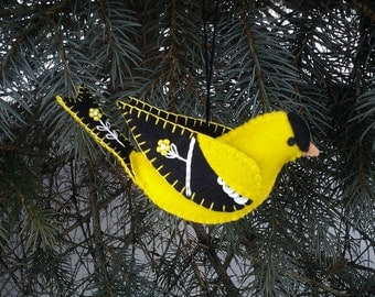 Wool Felt Goldfinch Ornament, Folk Art Goldfinch, Embroidered Goldfinch Ornament