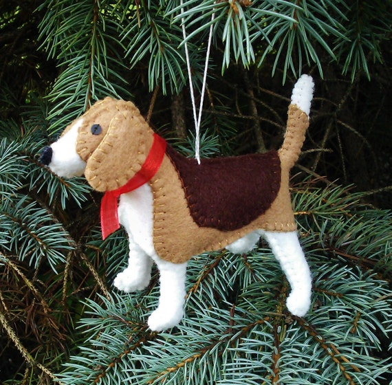 Beagle Christmas Tree Ornament Dog Ornament Wool Felt