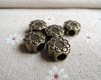 8pcs 13mm  Antique Bronze flower  bead with big hole ( A354)