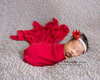 Red Crown Headband- Christmas Headband, crown Headband, Holiday Headband, Newborn