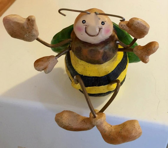 Epoxy Clay Sculptures : Cute whimsical bee sitting epoxy clay and wire weighted