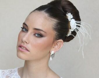 Pearl wedding earrings and bracelet set, bridal jewelry