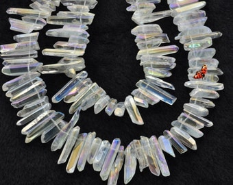 Polished Titanium Coated Mystic Drilled Crystal Quartz Points smooth  pendant beads spike beads,15inches-Color AB