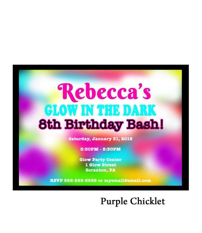 Glow in the Dark Birthday Party Invitation Neon by PurpleChicklet