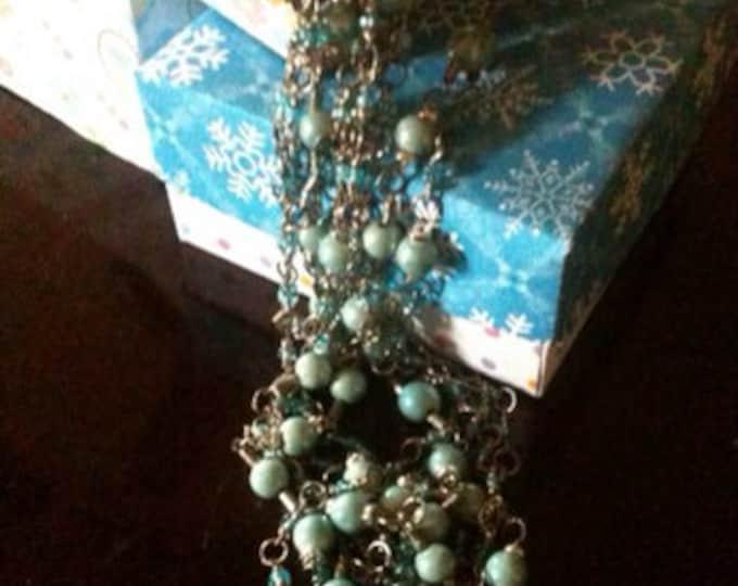 silver blue ceramic & glass necklace