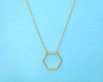 Hexagon, Gold, Silver, Necklace, Modern, Geo, Honey, Bee, Comb, Necklace, Birthday, Best friends, Gift, Jewelry