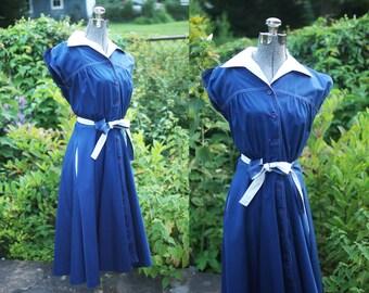 vintage 1970s blue sailor midi dress (small)