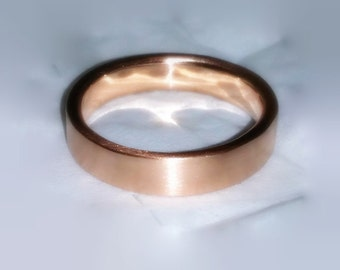 14k Rose Gold Wedding Band, 5mm Wide Band, Matte Finish, Traditional,Classic, Made to Order, yellow and white gold