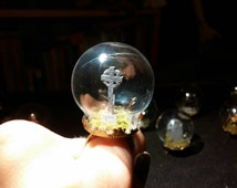 Glass terrarium dome ring, with a tombstone!