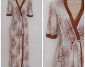 70s 80s Autumn Robe - Lightweight Cotton Sleepwear - Small XS