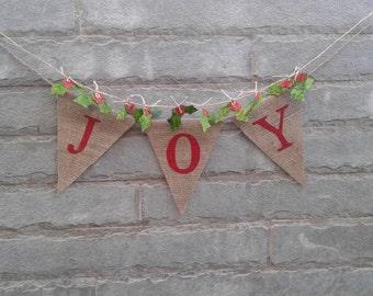 JOY - Christmas Burlap Banner, Holiday Garland, Christmas and Holiday decorations, Christmas Photo prop.