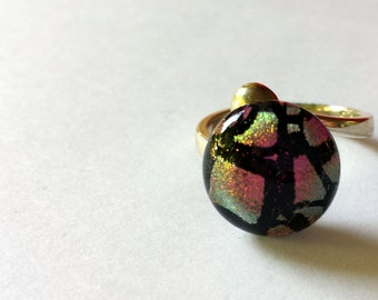 Dichroic glass sterling silver ring adjustable pink black and silver